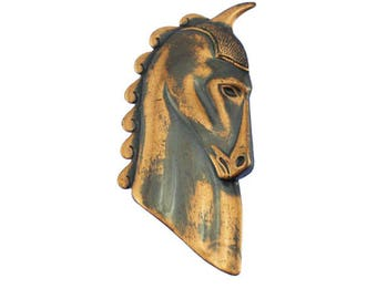 Copper Horse Brooch, Copper Horse Pin, Copper Horse Head Brooch, Copper Horse Head Pin