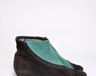 Vintage 80's Green and Black Real Suede Leather Shoes with Zipper