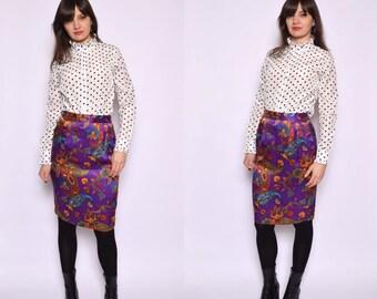 Vintage 80's Silk Paisley Skirt / High Waisted Midi Silk Skirt / Purple Paisley Skirt - Size Small/S