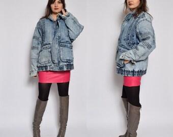 Vintage 80's Acid Wash Denim Jacket / Sherpa Denim Jacket / Acid Wash Denim Jacket - Size Large/L