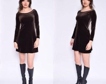 Vintage 90's Brown Velvet Dress / Brown Velvet Mini Dress / Long Sleeve Velvet Dress - Size Small/S