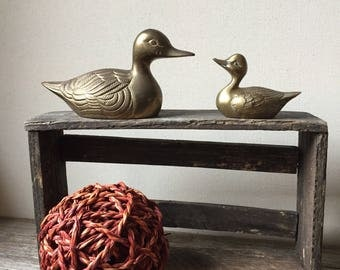 Vintage Brass Duck Figurines | Mid Century Brass Ducks | Mother Duck and Duckling Paperweights | Rustic Woodland Cabin Decor | Mother's Day