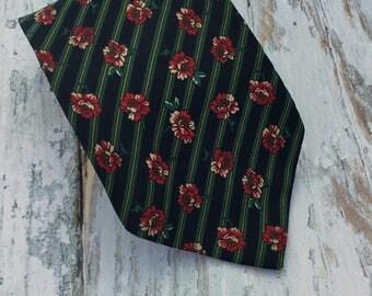 Flower Print Silk Mens Tie . Vintage Necktie . Floral Men's Tie . Blue Tie . Roberta Lattanzi .