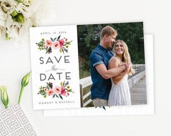 Peony Save the Date Watercolor Floral Save the Date Photo Save the Date Postcard, Magnet