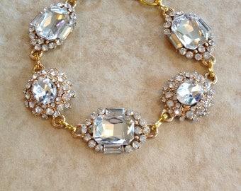 Crystal and gold bridal bracelet, rhinestone, jewelry, bridesmaid, link bracelet, Old Hollywood, statement, bridal, glamorous, crystal, gold