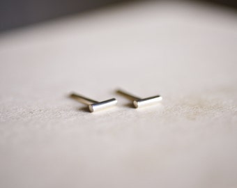 Wire Bar Sterling Silver Earring Studs