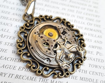 Steampunk Bat Necklace Pendant -Watch Part Necklaces- Night Bats Necklace Gifts for Steampunk Lovin