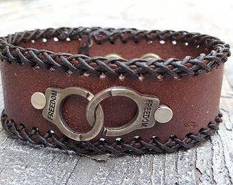 Freedom Handcuff Leather Wristband Cuff -Steampunk Bracelet-Steampunk cuff-steampunk Girlfriend Ladies gift - handcuff bracelet