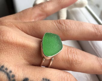 Sea Glass Ring Sz7.5 Grecian Green Mermaid Tears Sterling Silver