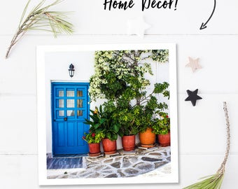 Bathroom wall art, travel photography, Greece photography, travel wall prints, door print, digital printable square photo, instant download