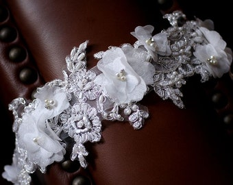 Simple Design Beautiful Small White Flower Wedding Sash Bridal Belt with Lace and Bling on an Ivory White Ribbon