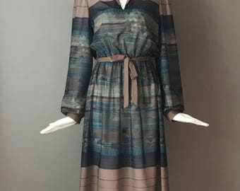 Lovely Vtg 70s Muted Print Sheer Belted Secretary Dress Joan Curtis Label Matching Belt 12 L XL