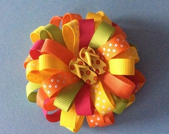 Summer Flip Flop Flatback Resin loopy ribbon barrette