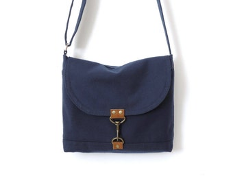 Canvas Satchel Bag Crossbody Purse Messenger Bag Small Blue SALE