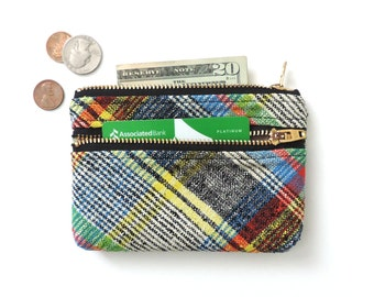 Plaid Wallet Coin Purse Double Zipper Pouch Recycled