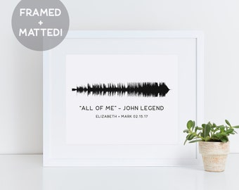 Custom Framed Sound Wave Print, First Anniversary Gift, Romantic Gift, Wedding Gift, Gift for Him, Mother's Day Gift