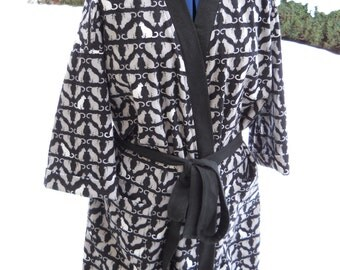 Cozy Cat Flannel Robe / Full Length Flannel Robe
