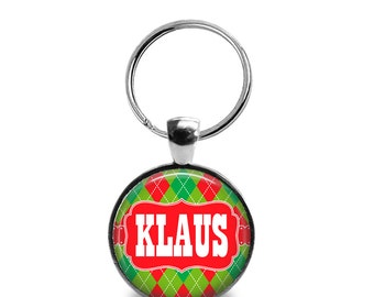 "Pet ID Tag   ""Klaus"" - Christmas Argyle"