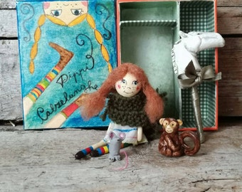 Pippi Longstocking mini art doll story box, dollhouse case with handmade paper clay marionette character, doll wardrobe. Ready to ship.