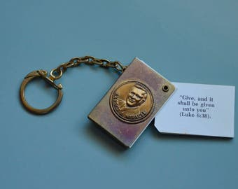 Keychain from Oral Roberts University with many inspirational sayings. Very interesting piece. 1960s