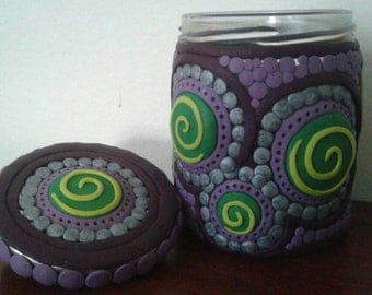 Colorful Purple Polymer Clay Spiral Upcycled Jar