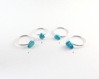 Turquoise Hypoallergenic Ring, Argentium Ring, Silver Ring, Unique Ring, Blue Ring, Minimal Turquoise Ring, Size 6, Size 7, Stackable Ring