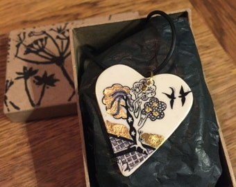 Willow Tree Illustrated Porcelain Heart Pendant
