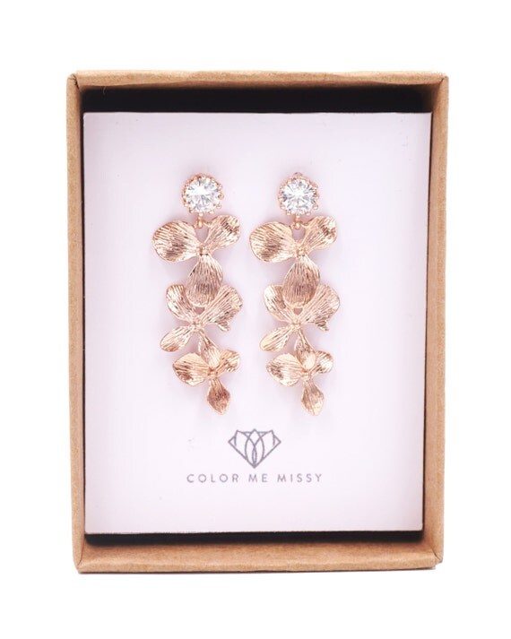 Rose Gold Cubic Zirconia Earring with Orchid Flower Dangle - gifts for her, pearl earrings, bridal gifts, drop, dangle, pink gold weddings