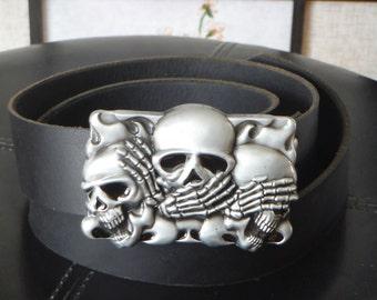 Pirate Rocker Leather Belt with Skulls Buckle