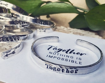Together bangle -  skinny metal cuff bracelet - #bettertogether - arrows - inspirational jewelry - better together - Love Squared Designs