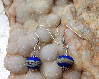 OOAK Etched Artisic Cobalt Blue and Sterling Silver Earrings