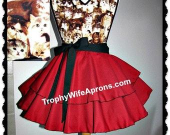 Apron # 4151 - Cats & kittens circular style retro flirty apron