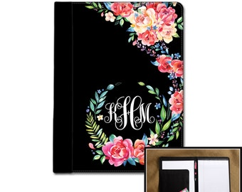 Classy Black Floral Monogrammed Padfolio Notebook Notepad Portfolio Personalized Custom Monogrammed Gift College Graduation Gift for Her