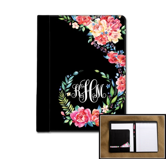 Classy Black Floral Monogrammed Pad Folio Notebook Notepad Portfolio Personalized Custom Monogrammed Gift College Student New Job Gift