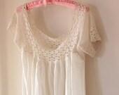 Vintage maxi petticoat, Crochet ivory yoke, Cotton maxi slip, Crochet top dress, Antique undergarment, Victorian petticoat