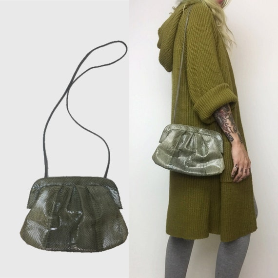 Vintage 1980's Snake Skin Cross Body Purse - Reptile Skin Pewter Green Purse Fall Accessory - Small Cross Body Snake Skin Textured Bag