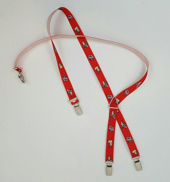 80s Unique One of a Kind Fruit Suspenders - Vintage Fruit Graphic Braces Women Clothing Accessory - 80s Vintage Fruit Print - Apple Banana