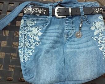 Denim Jeans bag - Jeans handbag with White sculptured design - Denim bag - jeans bag - Denim Large Pocketbook