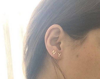 gold kimkandearrings product jewelry initial stud earrings mre