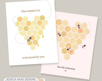 2 Digital Bee Love Cards