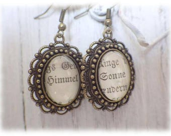 Sky and Sun - Earrings Literature Jewelry Earrings in vintage style with fine cabochon