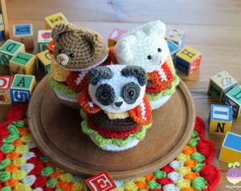 Bear Burger plush!! Panda, Brown Bear, Polar Bear Amigurumi Food Pretend Food!