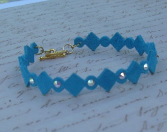 Leather Bracelet in Teal with Swarovski AB Crystals and toggle clasp