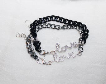 Chain bracelets with the word LOVE in Black/silver-coloured Swarovski