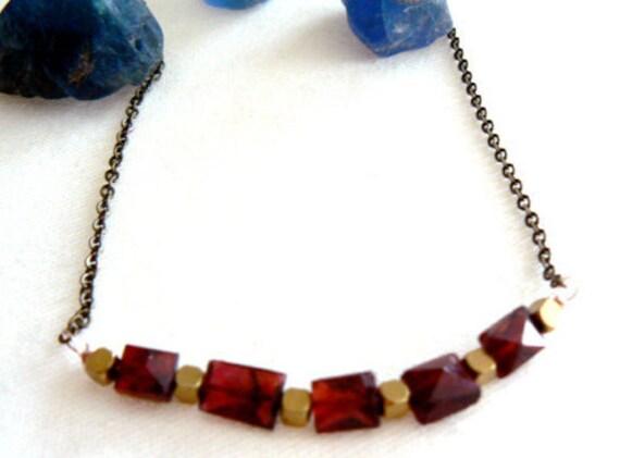 Red garnet pyramid gemstone bar necklace-Dainty boho garnet brass bar pendant necklace-Women jewelry gift-Trendy fashion necklace