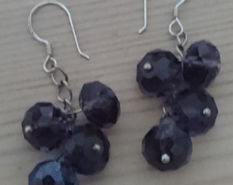 Vintage purple glass and sterling silver drop earrings