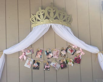 Gold Crown Canopy With Your Choice of Sheers Color - No Rhinestones