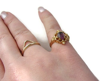 Gold pinky ring Pink stone ring Avon gold ring Amethyst gold ring February birthstone February ring Flower ring Ring size 5 Pinky ring women