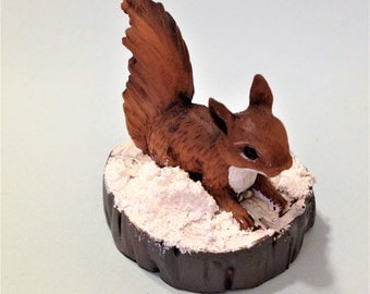 Miniature Squirrel Playing in the Snow Fairy Garden Miniatures