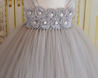SALE!!  many colors available-Gray silver shabby chic flower girl tutu dress